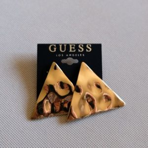 Guess Large Gold Triangle Statement Earrings